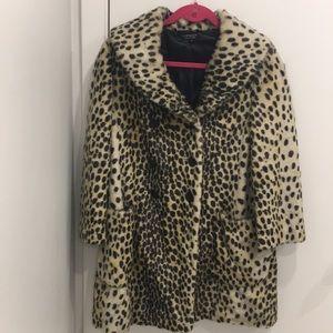 Topshop leopard print pea coat
